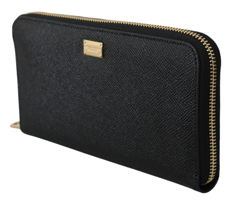Black Dauphine Leather Zipper Continental Womens Wallet