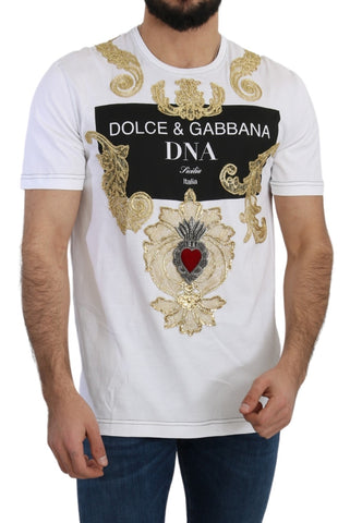 White Cotton Crystal Heart DNA T-shirt