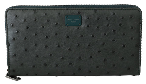 Green Ostrich Leather Continental Mens Clutch Wallet