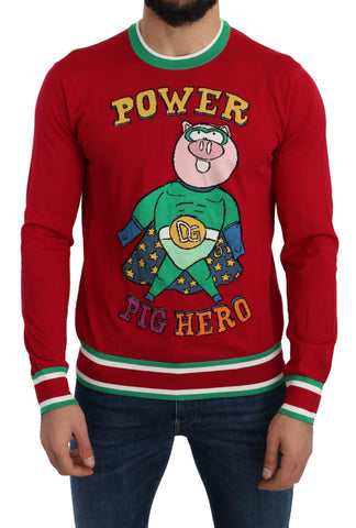 Red Wool Silk Pig of the Year Sweater
