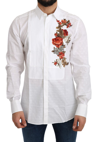 White Cotton GOLD Flowers Top Solid Shirt