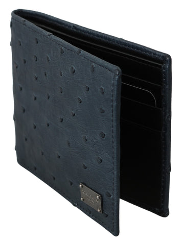 Blue Ostrich Leather Bifold Mens Card Bill Slot Wallet