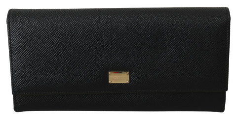 Black Leather Bifold Continental Clutch Womens Wallet