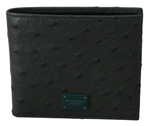 Green Ostrich Leather Bifold Mens Card Bill Wallet