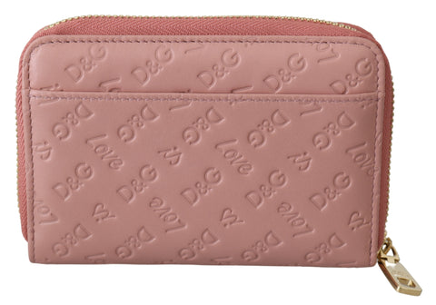 Pink Logo Leather Leopard Zipper Bill Card Coin Wallet
