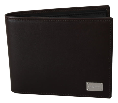 Brown Bifold Mens Card Holder Bill Slot Leather Wallet