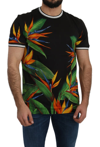 Black Cotton Floral Leaf Print  T-shirt