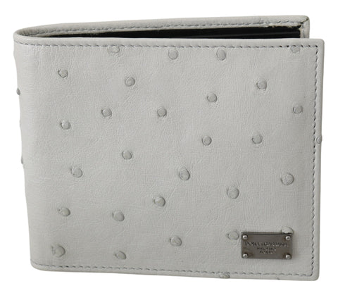 White Ostrich Leather Bifold Mens Card Bill Slot Wallet