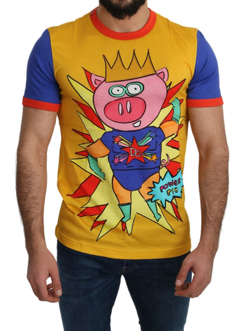 Yellow Cotton Top Super Power Pig Mens  T-shirt