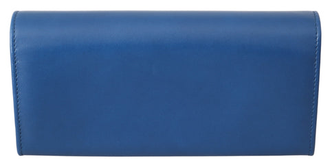 Blue Leather Bifold Continental Clutch Womens Wallet