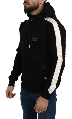 Black Full Zip Logo Badge Hooded Sweater