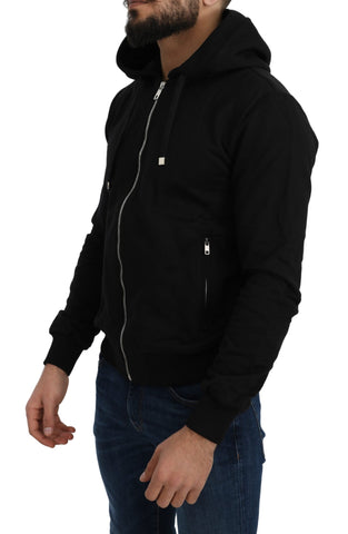 Black Full Zip Cotton Hooded Sweater