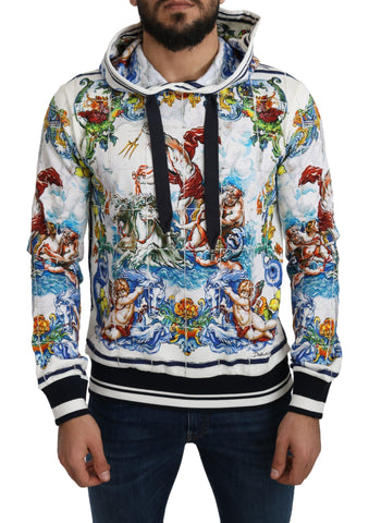 White Cotton Neptune Print Hooded Sweater