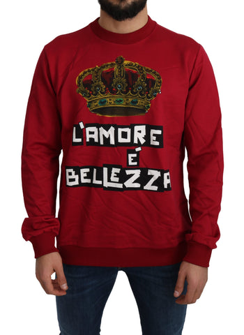 Red Cotton DG Logo Crown Pullover Sweater
