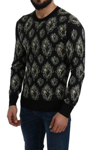 Black Silk Sacred Heart Pullover Sweater