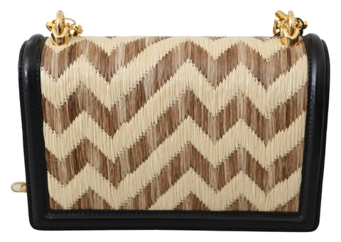 Beige Black Raffia Gold DG GIRLS Purse