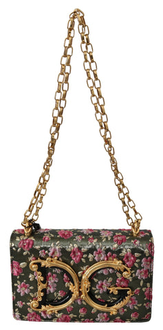 Multicolor Floral Gold DG Shoulder Bag