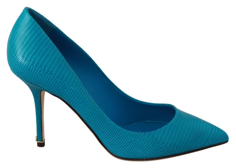 Blue Leather Classic Heels Pumps Shoes
