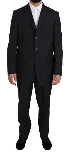 Blue Two Piece 3 Button Wool Silk Suit