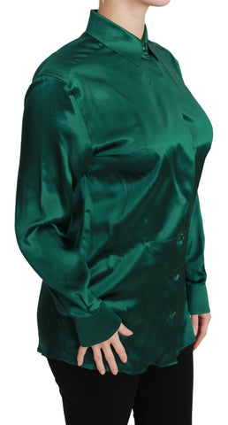 Green Collared Blouse Shirt 100% Silk Top