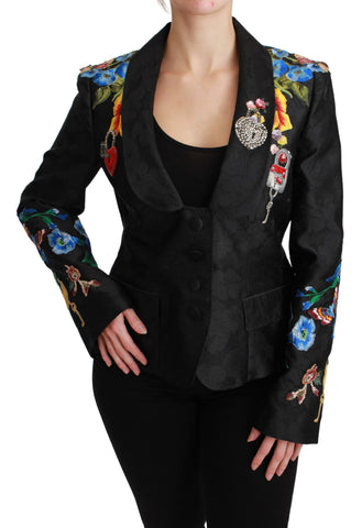 Black Brocade Crystal Blazer Jacket