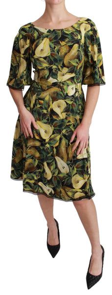 Green Pear Fruit Sheath A-line Stretch Dress