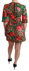 Brown Leopard Rose Sheath A-line Mini Dress