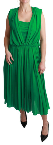 100% Silk Green Sleeveless Pleated Maxi Dress