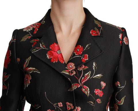 Black Floral Embroidered Coat Jacket