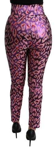 Multicolor Patterned Cropped High Waist Pants