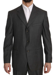 Gray Solid 2 Piece 3 Button Wool Gray Suit