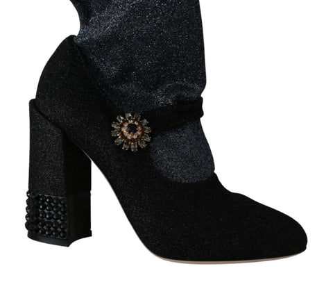 Black Crystal Mary Janes Booties Shoes