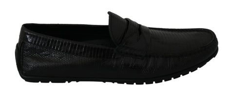 Black Lizard Leather Flat Loafers Shoes