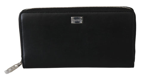 Black Zip Around Mens Continental Clutch Leather Wallet