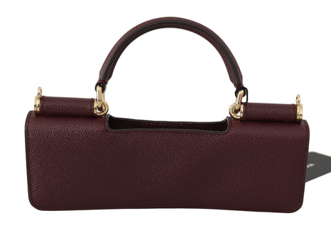 Maroon Leather Push Button Accessory  Micro Bag