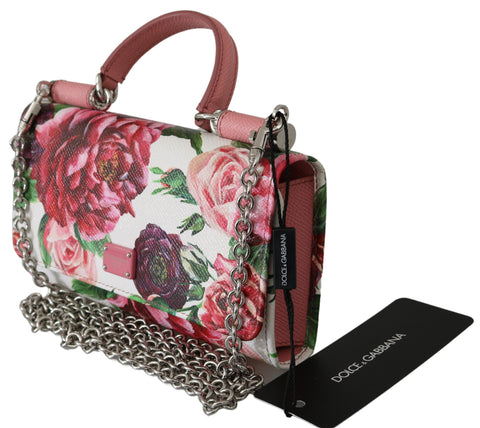 White Floral Clutch Sling Borse  Sicily Von Leather Bag