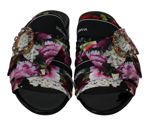 Black Floral Crystal Sandals Mules Shoes