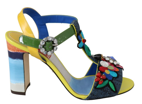 Multicolor Floral Crystal Sandals Shoes