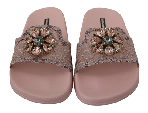 Pink Lace Crystal Sandals Slides Beach Shoes