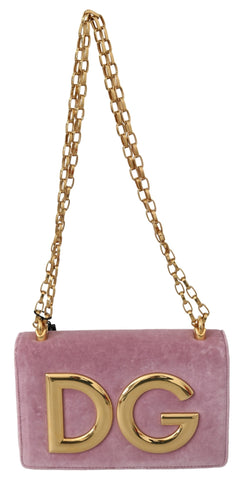 Pink Velvet Leather Gold DG Clutch Bag