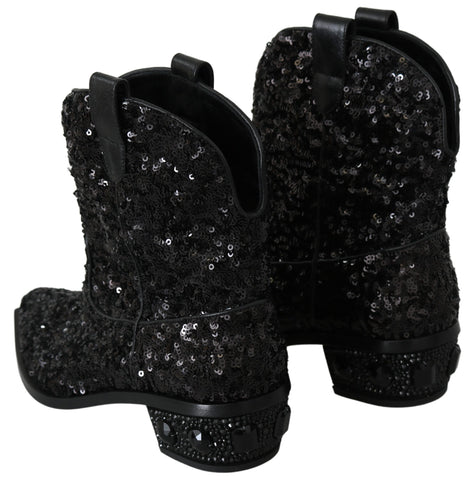 Black Sequined Boots Cowboy Shoes