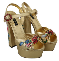 Gold Leather Floral Crystal Sandals Shoes