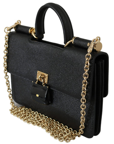 Black Padlock Phone Purse Clutch Leather Sicily Bag