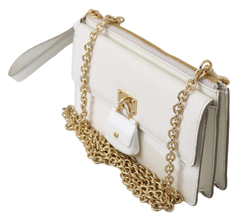 White Padlock Phone Purse Women Sicily Leather Bag