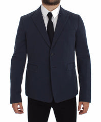 Blue Cotton Stretch Casual Blazer