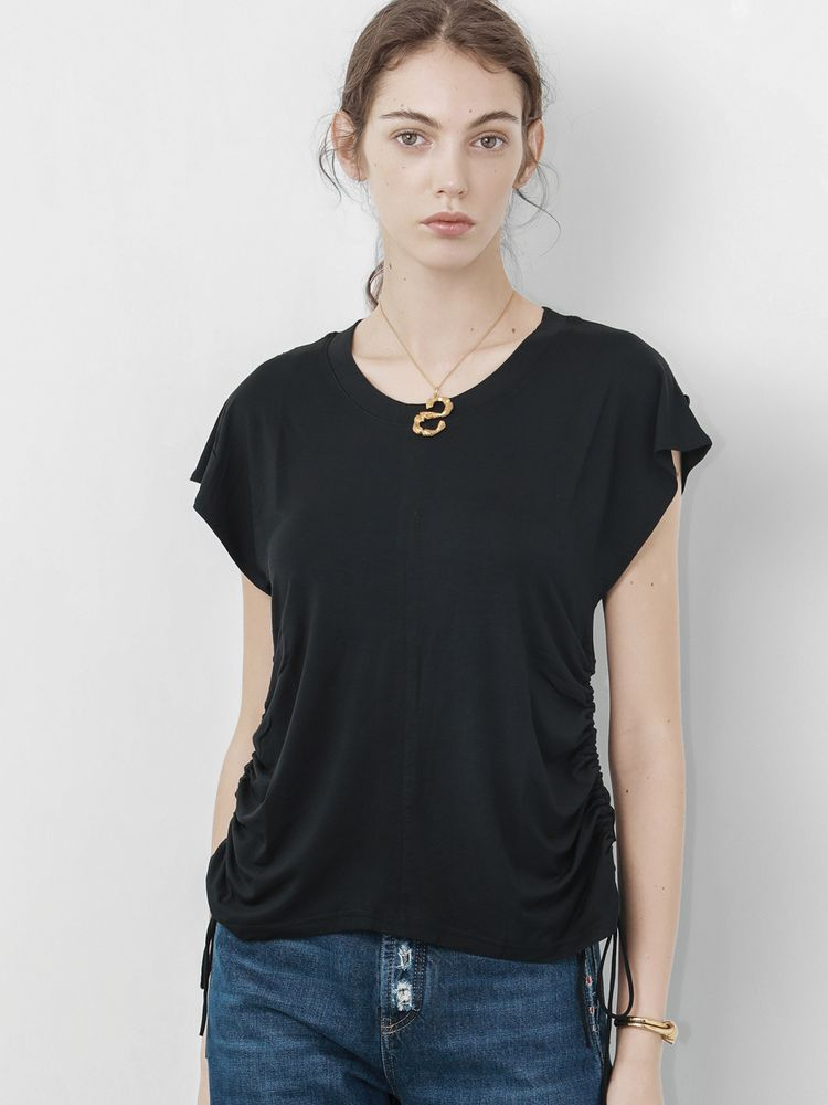 Black Ruched T-Shirt