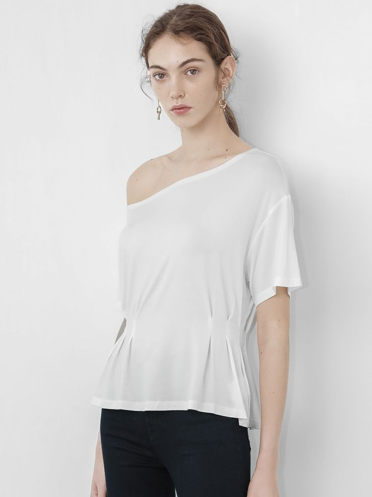 White Gathered Waist T-shirt