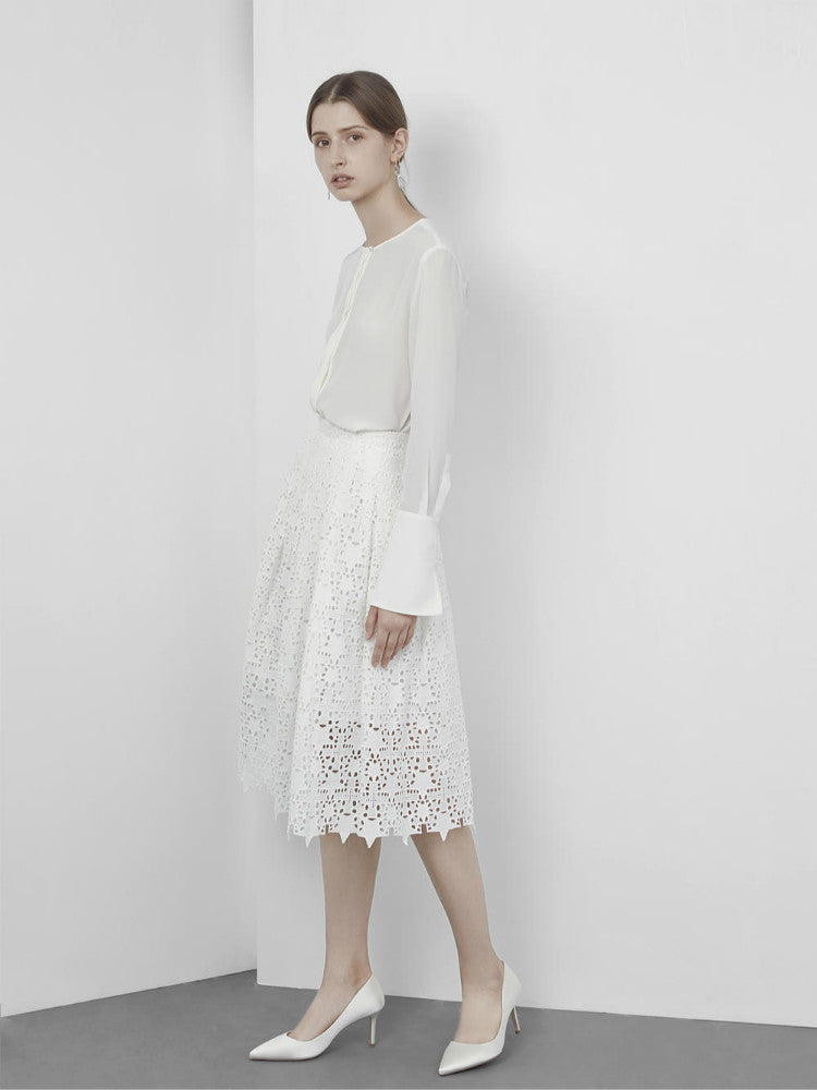 A-line Lace Midi Skirt in White