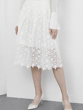 Load image into Gallery viewer, A-line Lace Midi Skirt in White