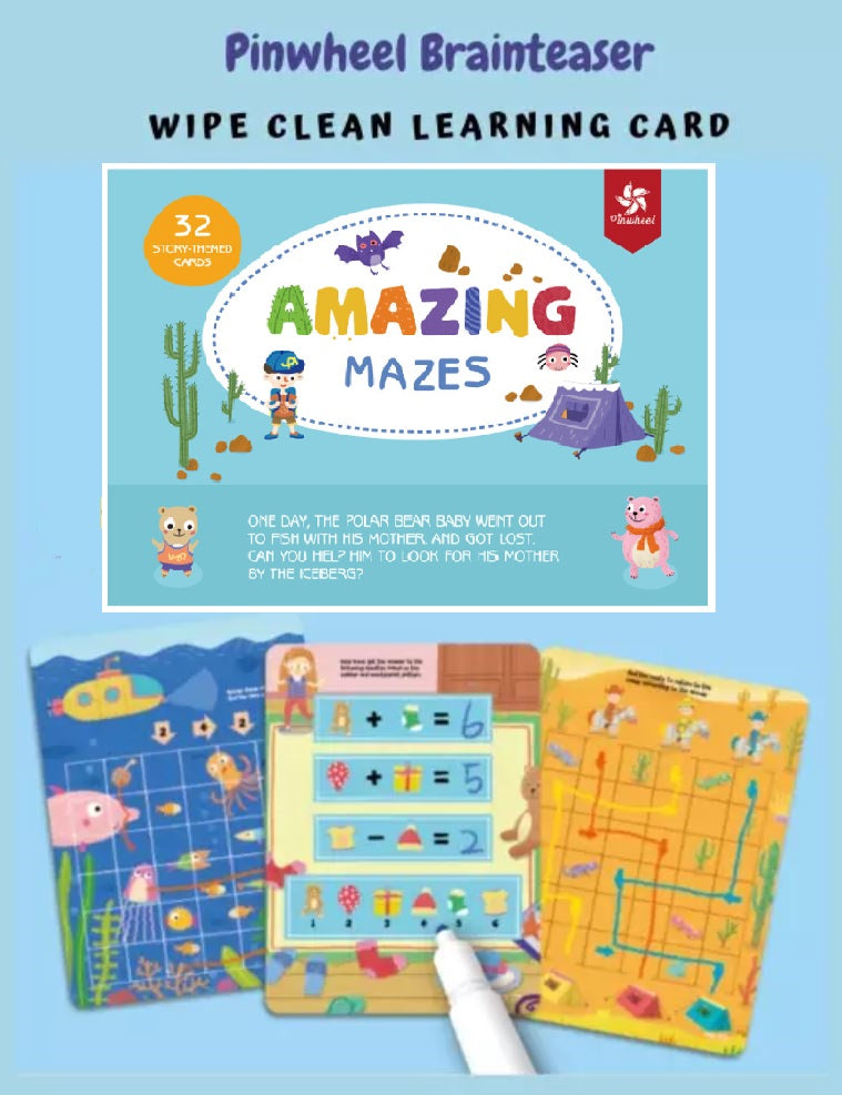 Wipe&Clean Learning Cards - Amazing Mazes